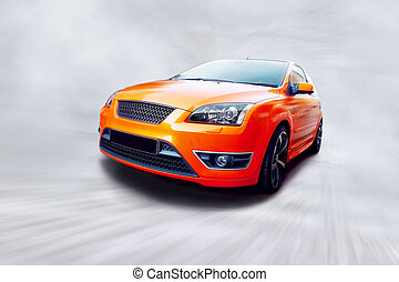 Beautiful orange sport car on road - Beautiful orange sport...
