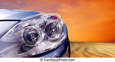 Beautiful sport car on speed - Headlight of car