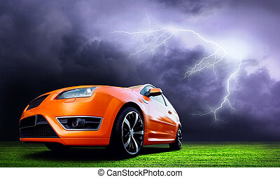 Beautiful orange sport car on dark sky with lightning