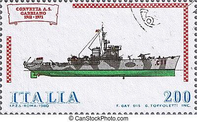 Corvette Gabbiano - ITALY - CIRCA 1980: A stamp printed in...
