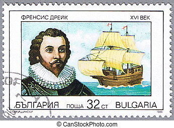 Portrait of Sir Francis Drake - BULGARIA - CIRCA 1989: A...