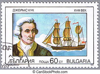 Portrait of James Cook - BULGARIA - CIRCA 1989: A stamp...