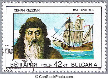 Portrait of Henry Hudson - BULGARIA - CIRCA 1989: A stamp...