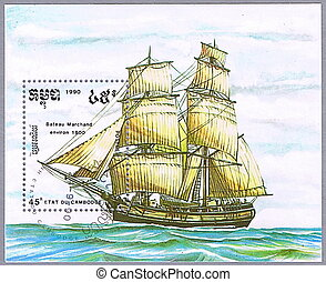 Merchant ship - CAMBODIA - CIRCA 1990: A stamp printed in...
