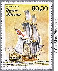 English brig - GUINEA-BISSAU - CIRCA 1985: A stamp printed...