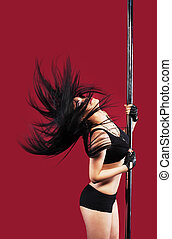 Young girl in pole dance with black hair - Young girl in...
