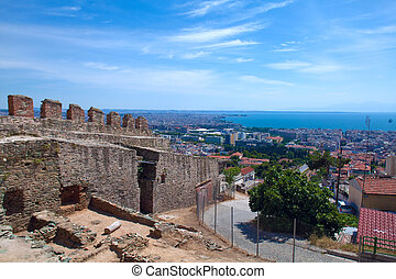 City view from Trigonion tower of upper town, Thessaloniki,...