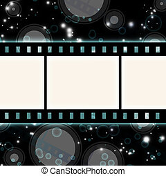 film strip on glowing dark background