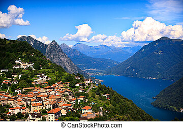 Lugano city with the view of lake Lugano