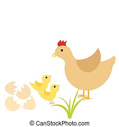 Hen and chicks - Easter chicks and mother hen. Vector...
