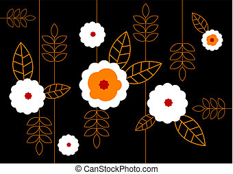 Pattern of white flowers on black background. Vector