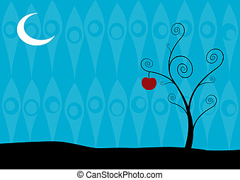 Lonely tree in the night on blue background. Vector