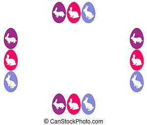 Card with easter bunnys and easter eggs