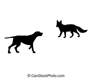 Two animals, setter and fox meet face to face