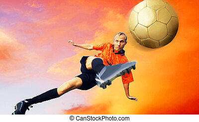Shoot of football player on the sky with clouds