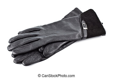 Black Gloves - pair of black females leather gloves isolated...