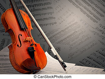 Musical instrument violin and notes
