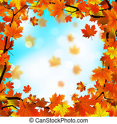 Red and yellow leaves against blue sky. EPS 8 - Red and...