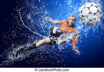 Water drops around football player under water on blue...
