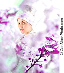 White beautiful geisha