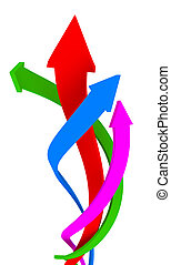 Up - Vibrant color coiling arrows upward