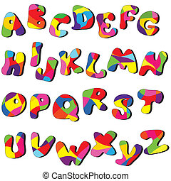 full alphabet - full cartoon alphabet Vector clip art from A...
