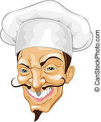 Cartoon chef illustration - Portrait of a rather wicked...