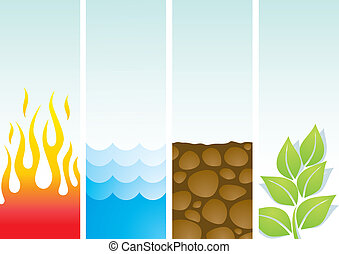 Four illustrations of the elements