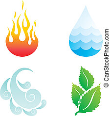 four elements - Illustrations of four natural elements of...