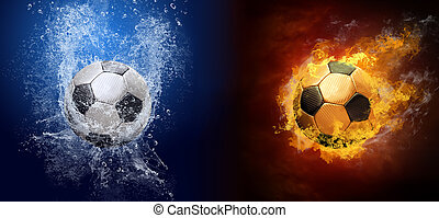 Water drops and fire flames around soccer ball on the...