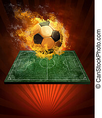 Hot soccer ball on the speed in fires flame