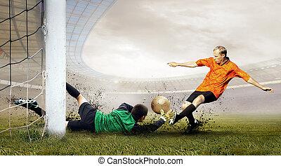 retoño, campo, fútbol, salto, jugador, olimpic, estadio,...