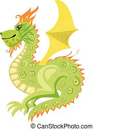 Green dragon with wings