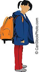 School girl is going to school. Ba