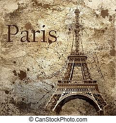 vindima, vista, Paris, grunge, fundo