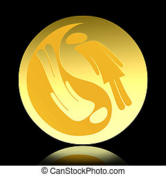 Yin Yang golden symbol with man and woman couple isolated...