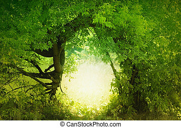 Door to the fairy land. Fantasy landscape