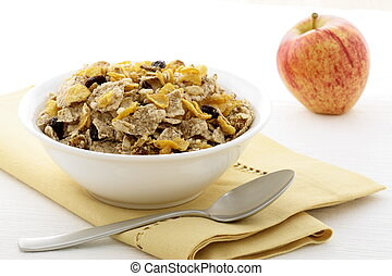 healthy granola and fresh apple - delicious and healthy...