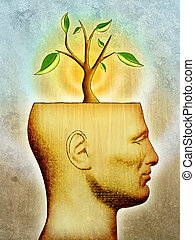 Growing idea - A new idea, symbolized by a plant, is growing...