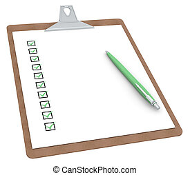 Clipboard with Checklist X 10 and Pen Green color Side view...