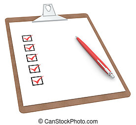 Clipboard with Checklist X 5 and Pen Red color Side view