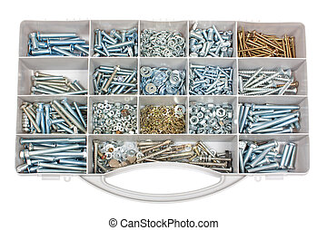 Nuts and bolts - Organizer with several nuts and screws of...