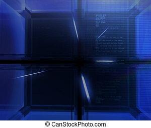 digital blue Cube animation - Modern digital 3D cube...