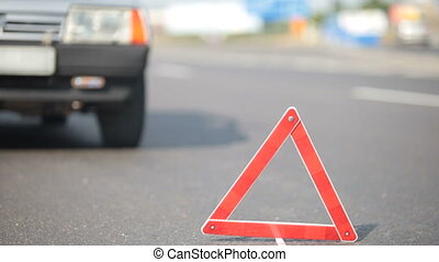 Car Trouble - Car Breakdown Focus is on the triangle & the...