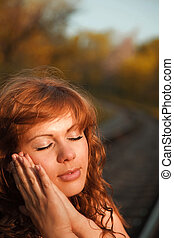 slipping - portraite of attractive girl with closed eyes