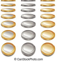 Gold coins - Different color gold money coins on white,...