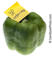 Green Bell Pepper with 30 Calories Handwritten Note Isolated...