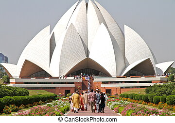Lotus Bahai Temple with pilgrims - Arrival of pilgrims from...