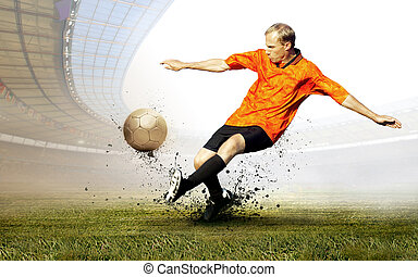 Shoot of football player on the field of olimpic stadium