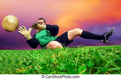 goalman, salto, Al aire libre, fútbol, campo